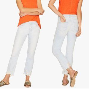 Sanctuary Connector Kick Flare Jeans in White Sand